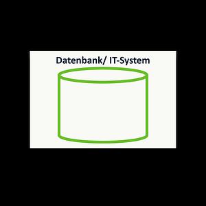 Symbol Datenbank / IT-System als Haftnotizblock zur Prozessanalyse